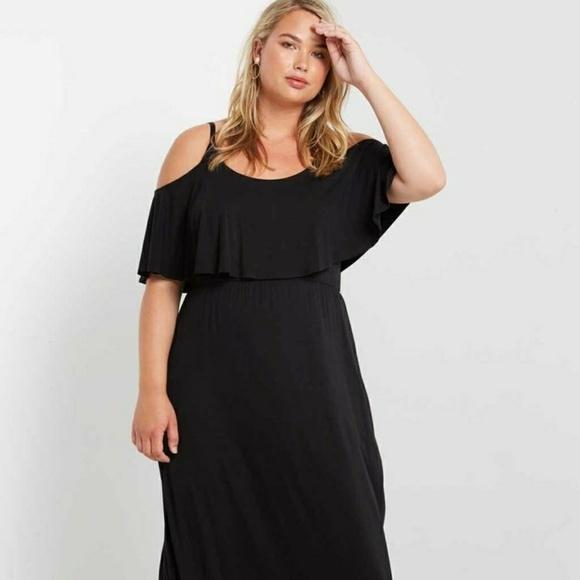 Plus Size Black Cold Shoulder Maxi Dress Boutique
